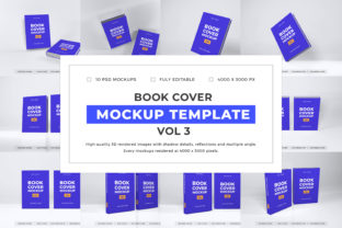 Print on Demand: Book Cover Mockup Template Bundle Vol 3 Graphic Product Mockups By dendysign