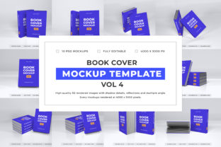 Print on Demand: Book Cover Mockup Template Bundle Vol 4 Graphic Product Mockups By dendysign