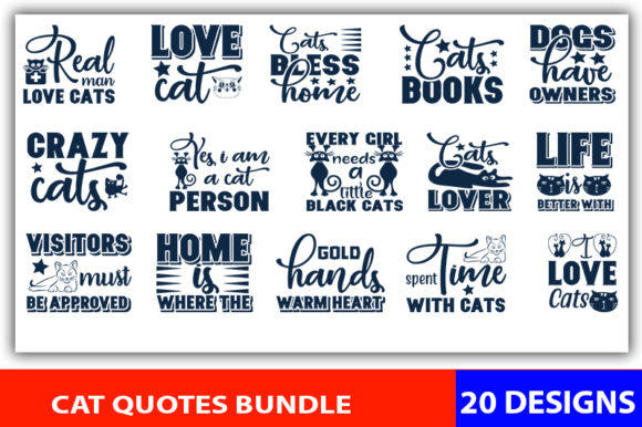 Print on Demand: Cat Quotes Designs Bundle Graphic Print Templates By CreativeArt