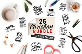 Print on Demand: Christian Quotes SVG Bundle Graphic Print Templates By Universtock