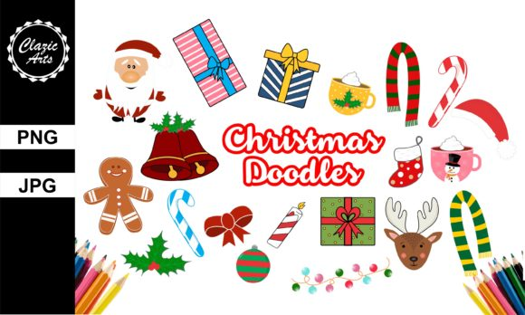 Print on Demand: Christmas Doodles Graphic Illustrations By ClazicArts