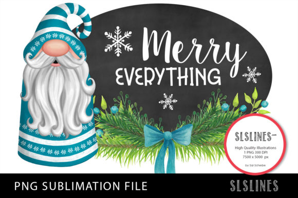 Christmas Gnome in Blue PNG Sublimation Graphic Illustrations By SLS Lines