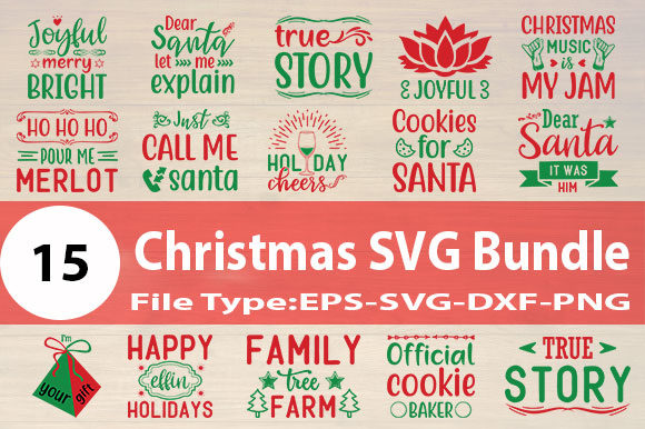 Print on Demand: Christmas SVG Designs Bundle Graphic Print Templates By Design Store