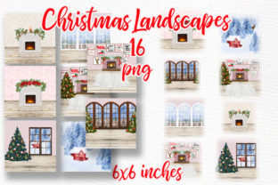 Print on Demand: Christmas Backgrounds Winter Scenes Graphic Illustrations By LeCoqDesign