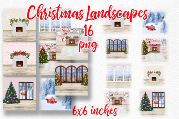 Christmas Backgrounds Winter Scenes Graphic Illustrations By LeCoqDesign