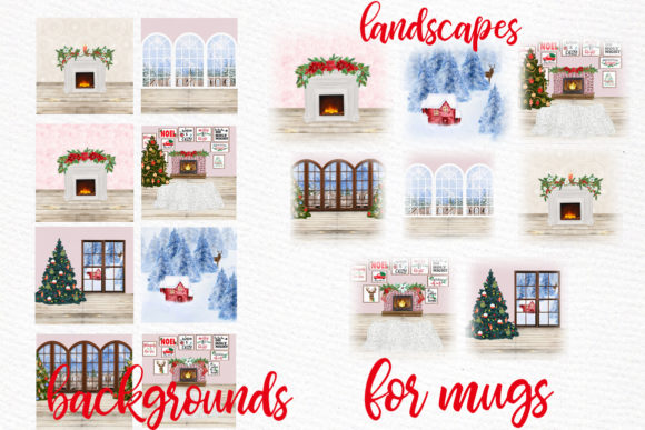Christmas Backgrounds Winter Scenes Graphic Download