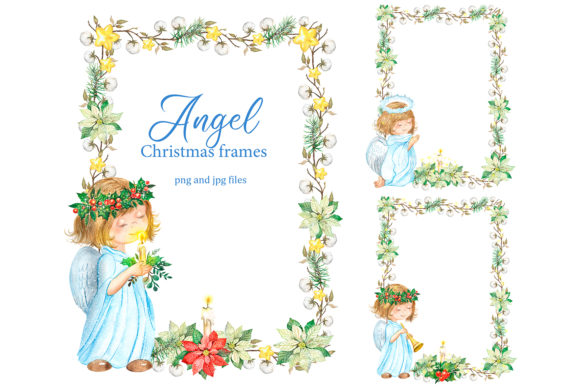 Christmas Frames with Angels, Holiday. Graphic Illustrations By EvArtPrint