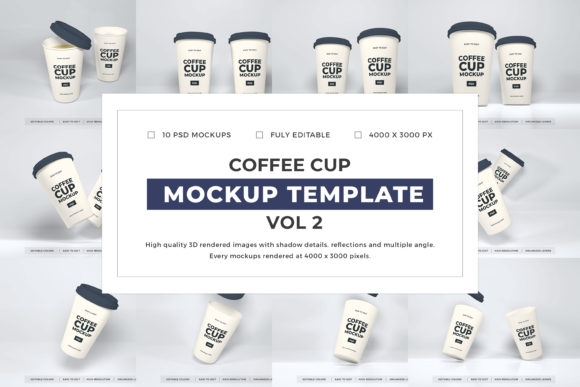 Print on Demand: Coffee Cup Mockup Template Bundle Vol 2 Graphic Product Mockups By dendysign