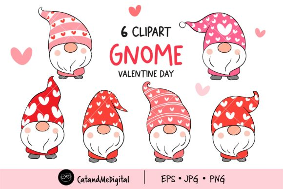 Cute Gnome Valentine Clipart Graphic Illustrations By CatAndMe