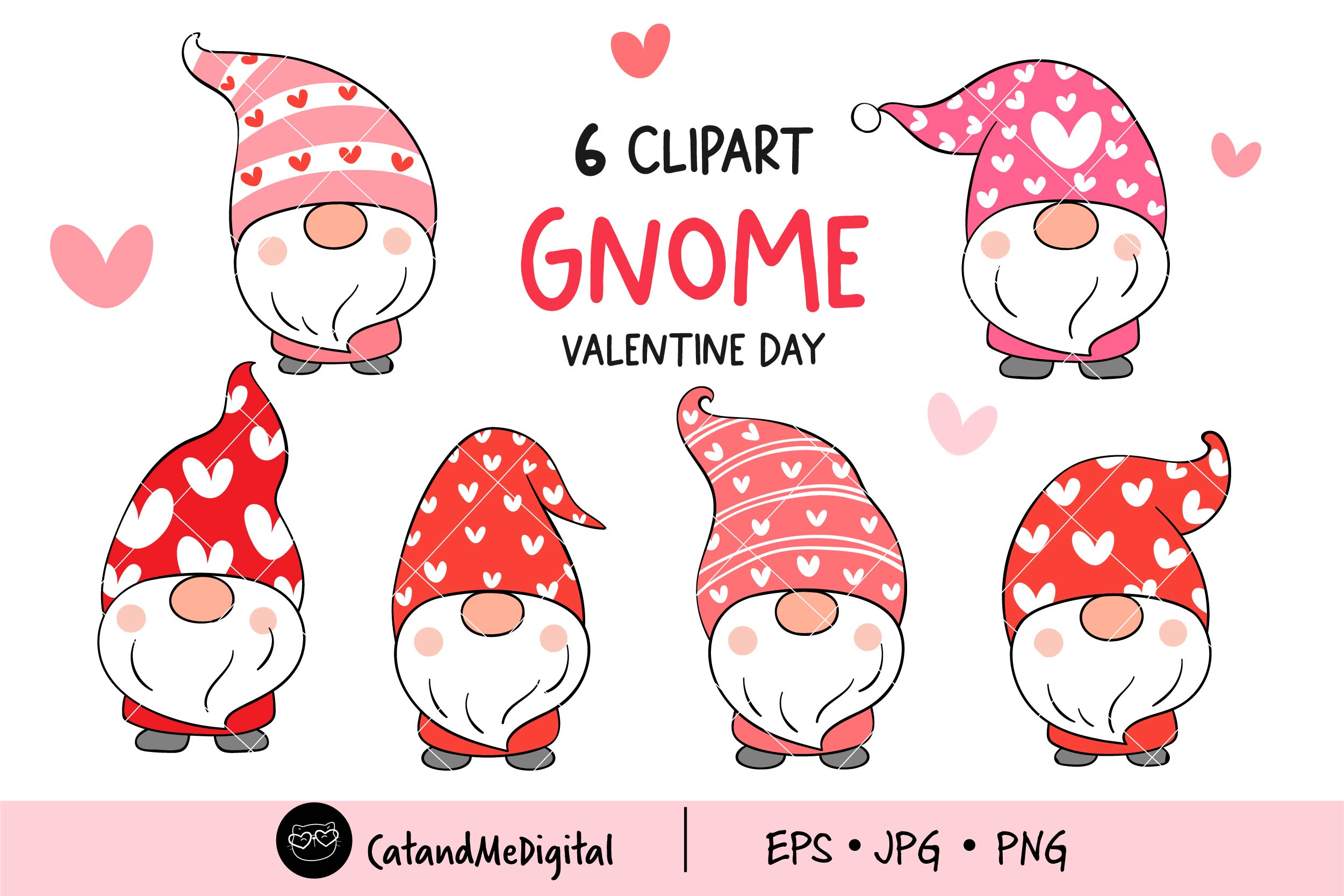 Valentine Gnome Stickers Printable PNG