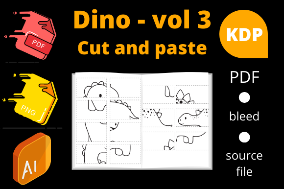 Print on Demand: Dinosaurs Cut and Paste, KDP Volume 3 Graphic KDP Interiors By Dunkyshot