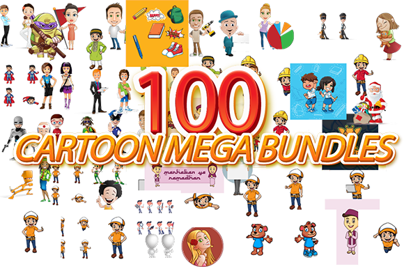 Print on Demand: EXTRA BUNDLE 100 Cartoon Mega Pack Graphic Illustrations By Nabila Studio