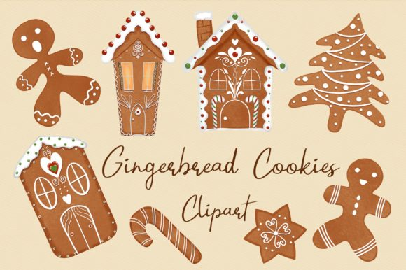Gingerbread Cookies Clipart Graphic Illustrations By PinkPearly