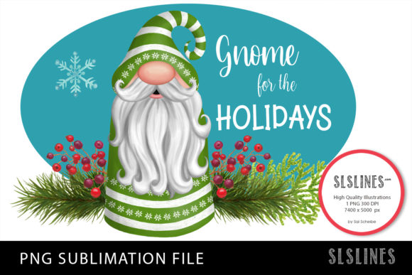 Gnome Christmas in Green PNG Sublimation Graphic Illustrations By SLS Lines