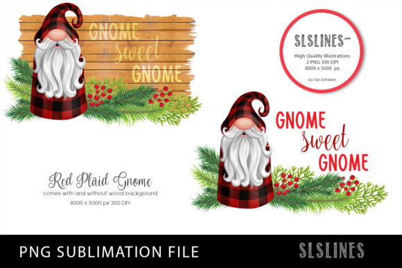 Gnome in Red Plaid PNG Sublimation Graphic Illustrations By SLS Lines