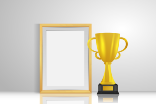 Print on Demand: Golden Trophy with Empty Photo Frame Graphic Illustrations By Muhammad Rizky Klinsman