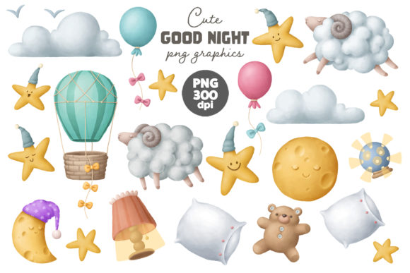 Print on Demand: Good Night Clipart Set Graphic Illustrations By Architekt_AT
