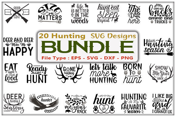 Hunting SVG Design Bundle Graphic Print Templates By creative_store