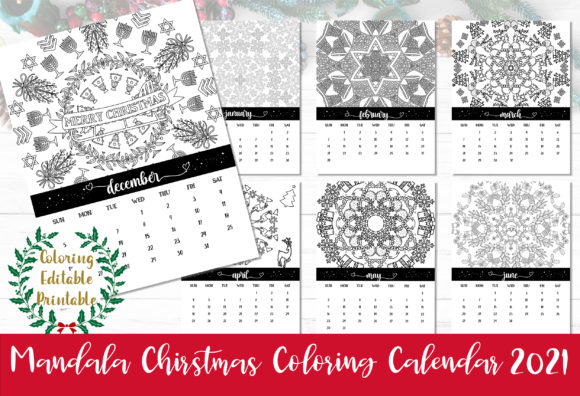 Print on Demand: Mandala Christmas Coloring Calendar 2021 Graphic Print Templates By AlyviaSkye