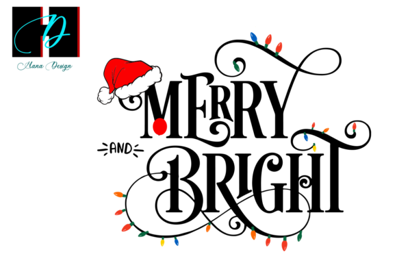 Print on Demand: Merry and Bright Christmas Font Graphic Print Templates By Hana Design