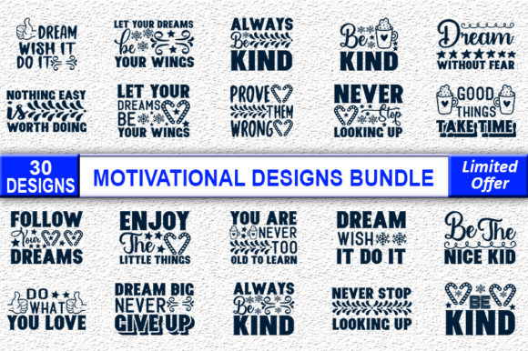 Print on Demand: Motivational Quotes Designs Bundle Graphic Print Templates By Crafting Time