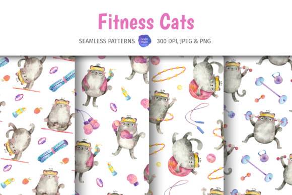 Print on Demand: Patterns with Fitness and Yoga Cats Graphic Patterns By ValinMalin