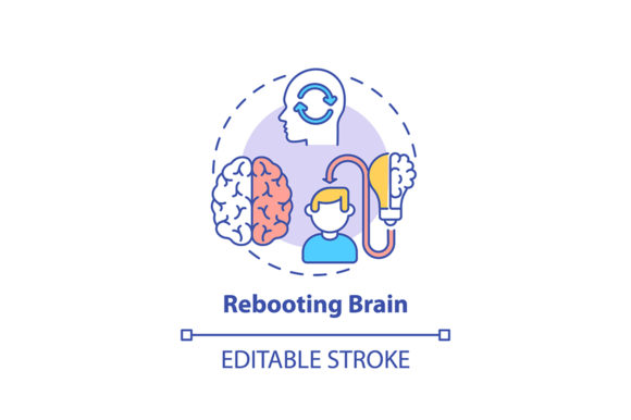 Print on Demand: Rebooting Brain Concept Icon Graphic Icons By bsd studio