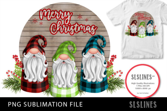 Trio of Christmas Gnomes PNG Sublimation Graphic Illustrations By SLS Lines
