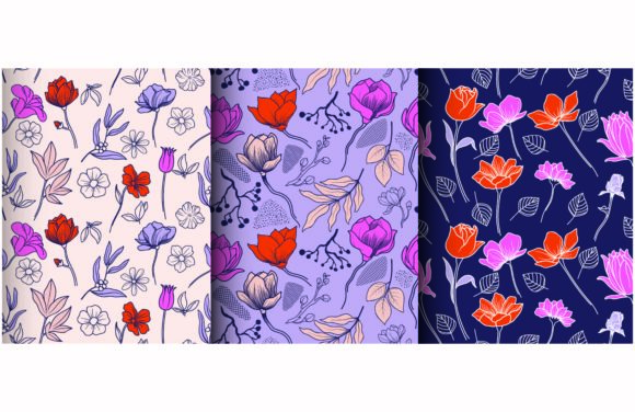 Tropical Leaves and Flower Pattern. Graphic Patterns By etinurhayati0586