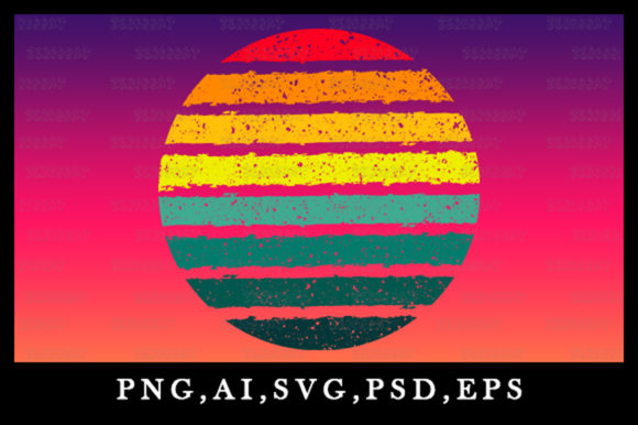 Print on Demand: Vintage Retro Striped Sunset Granule Art Graphic Logos By zerobbat