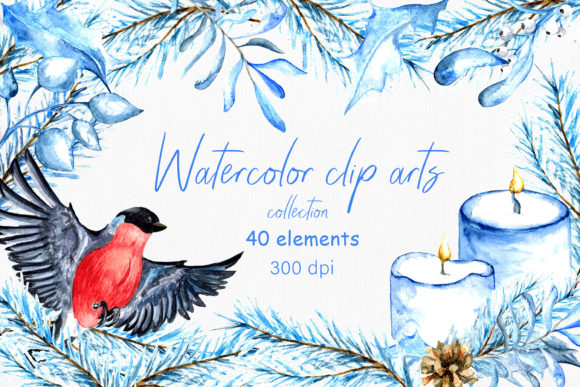 Watercolor Winter Clip Arts. 40 Elements Graphic Illustrations By ksenia.shuneiko