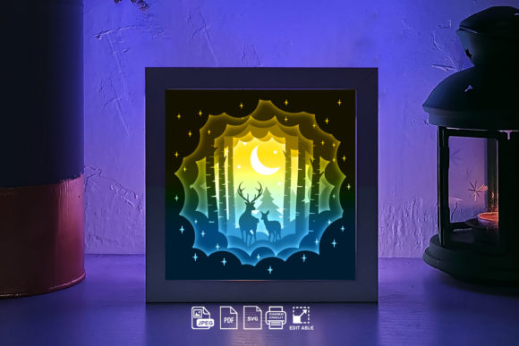 216 Deer Spirit 3d Paper Lightbox SVG Graphic 3D Shadow Box By lightbox.rinstore