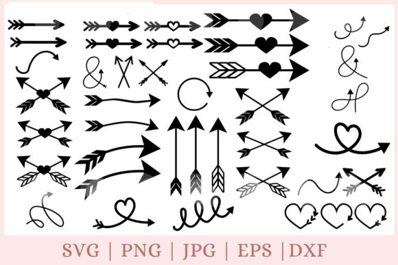 50 Arrows Bundle Graphic Print Templates By CrazyCutDesigns