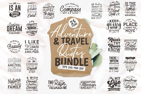 Print on Demand: Adventure Travel Svg Quotes Bundle Graphic Print Templates By Universtock