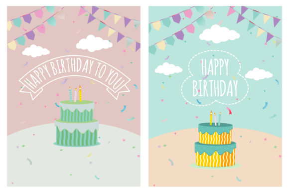 Print on Demand: Birthday Greeting Card Template Graphic Illustrations By edywiyonopp