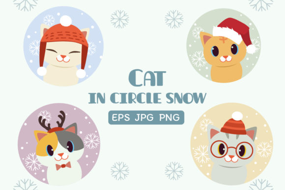 Cat in Circle Snow in Chistmas Thteme Graphic Illustrations By Guppic the duck