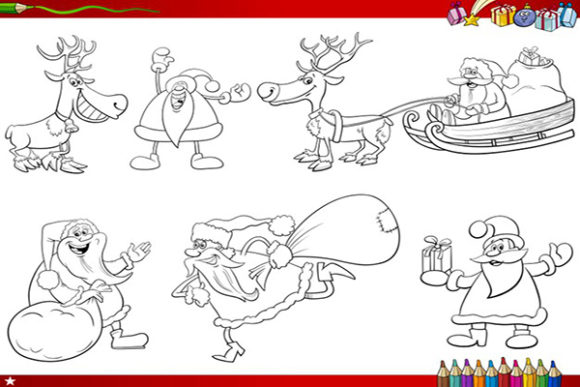 Print on Demand: Christmas Coloring Page 6 Santa Graphic KDP Interiors By design-world