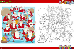Print on Demand: Christmas Coloring Page Santa Set Graphic KDP Interiors By design-world
