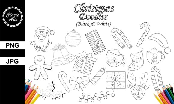 Print on Demand: Christmas Doodles (Black and White) Graphic Illustrations By ClazicArts