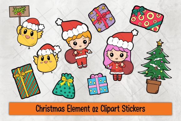 Christmas Element 02 Clipart Stickers Graphic Illustrations By TakeNoteDesign