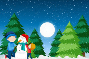 Print on Demand: Christmas Landscape Background 10 Graphic KDP Interiors By design-world