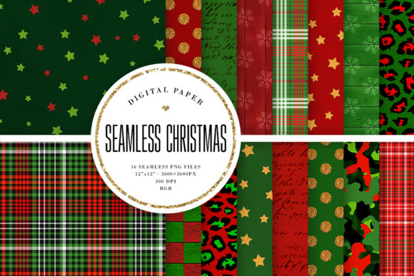 Print on Demand: Christmas Seamless Backgrounds Graphic Backgrounds By Sabina Leja