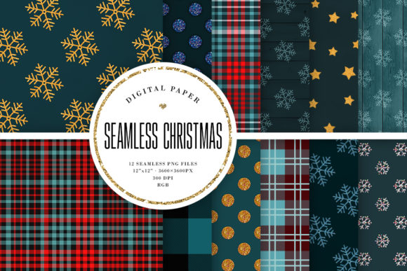 Print on Demand: Christmas Seamless Patterns Graphic Patterns By Sabina Leja