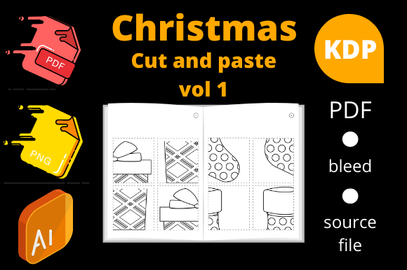Print on Demand: Christmas Cut and Paste, KDP Volume 1 Graphic KDP Interiors By Dunkyshot