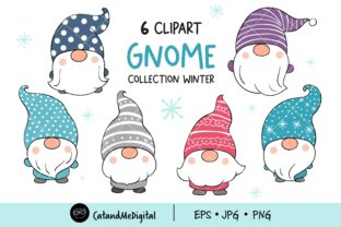 Cute Gnome Winter Clipart Graphic Illustrations By CatAndMe 1