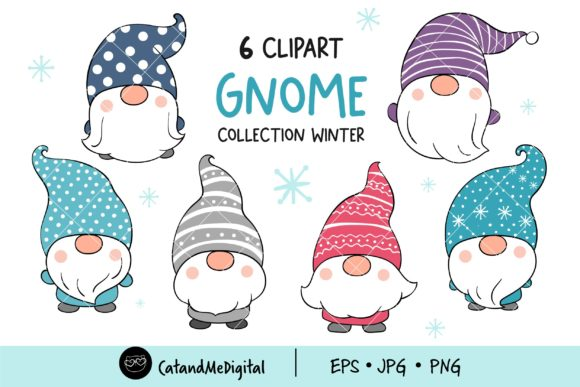 Cute Gnome Winter Clipart Graphic Illustrations By CatAndMe