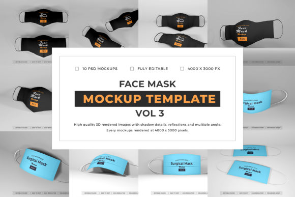 Print on Demand: Face Mask Mockup Template Bundle Vol 3 Graphic Product Mockups By dendysign