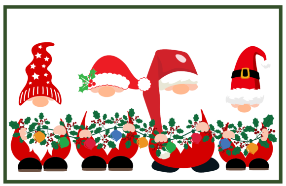 Gnomes with Garland Graphic Crafts By CREATIVE M.D