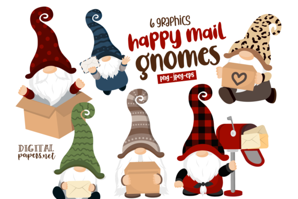 Print on Demand: Happy Mail Gnomes Clipart Set Graphic Illustrations By DigitalPapers