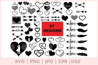 Heart Valentine Bundle   Graphic Print Templates By CrazyCutDesigns